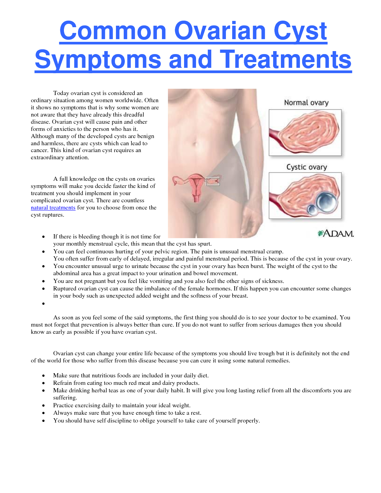 Signs And Symptoms Common Ovarian Cyst Symptoms And Treatments