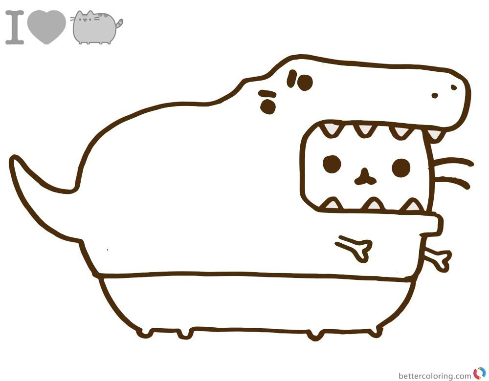 Pusheen Coloring Pages Dinosaur Cosplay Printable And Free Free Kids Coloring Pages Pusheen Coloring Pages Cat Coloring Page