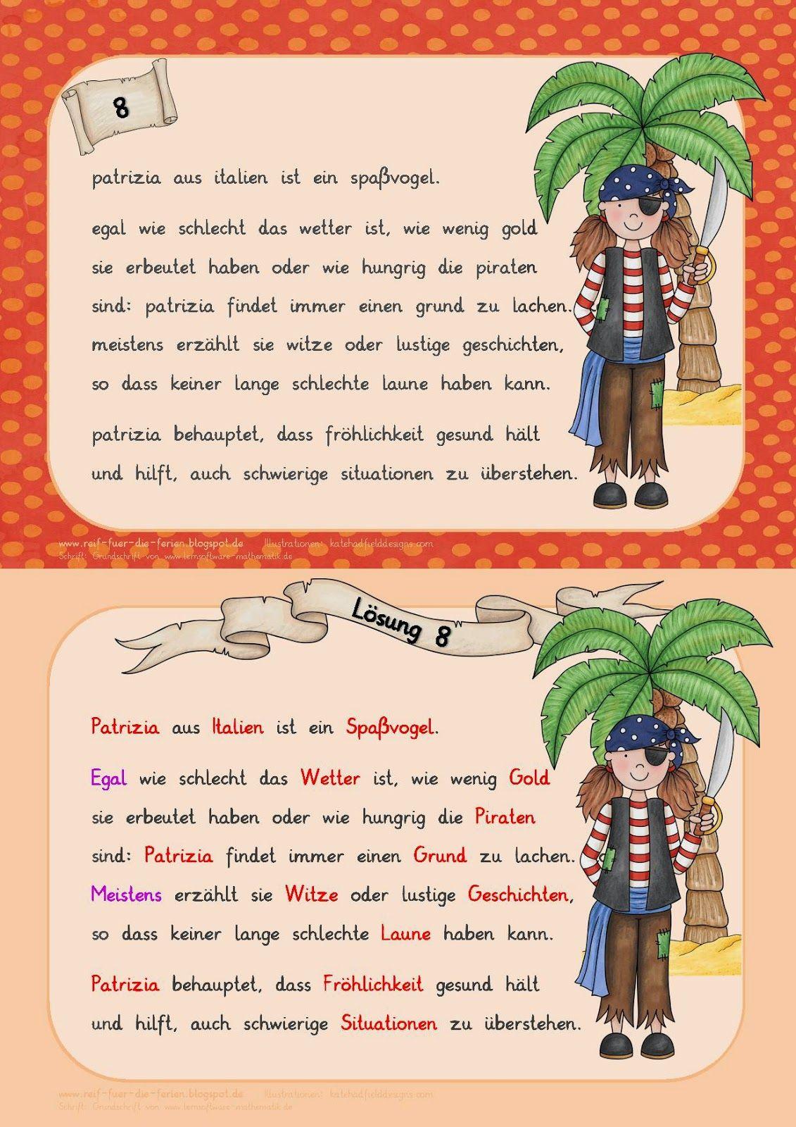 Abschreibkartei - Piraten | Deutschunterricht 2.Klasse | Pinterest ...