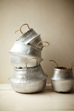 spray paint silver baskets