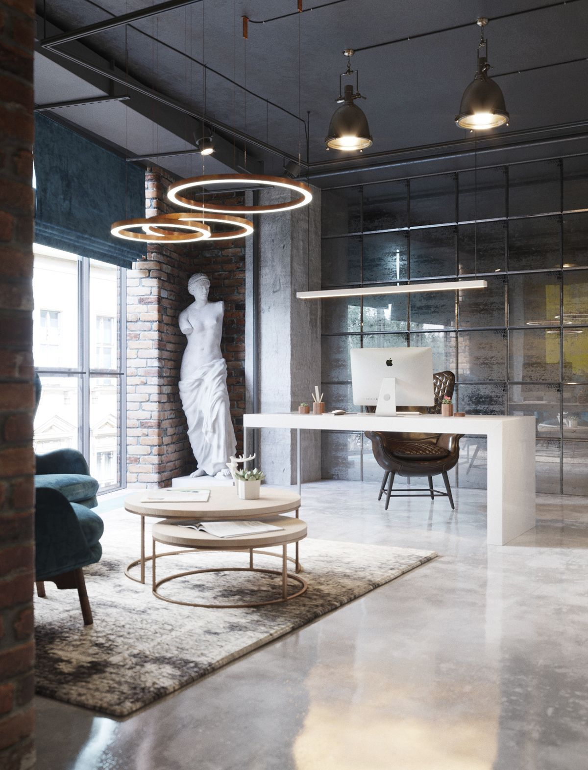 New project for office spaces loft style on behance - Interior design home office space ...
