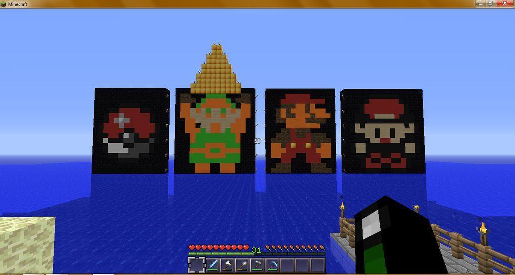Some pixel art I did on my Minecraft server Minecraft Designs