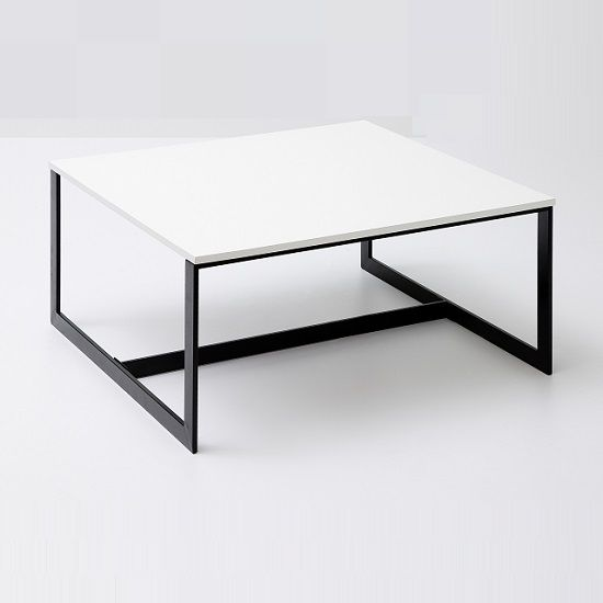 Fluoro Coffee Table Square In Matt White With Black Metal Legs In