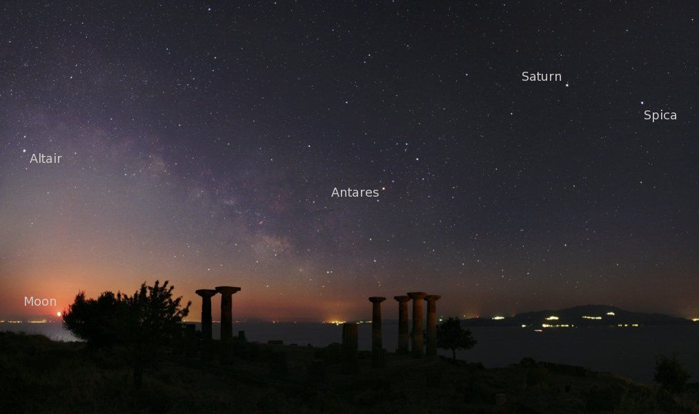 Looking Toward The South Planet Earth And Ruins Of The Ancient Temple Of Athena At Assos Turkey Are In The Foregrou Saturn The Sky Tonight Astronomy Pictures