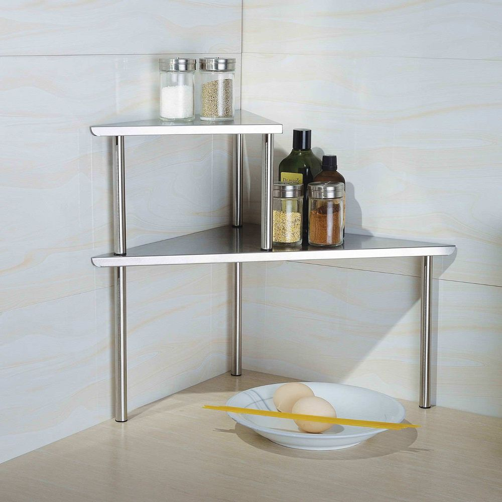 Home Stainless Steel Triangle Corner Storage Shelf Kitchen Side Table Dining End Corner Storage Shelves Corner Storage Shelves