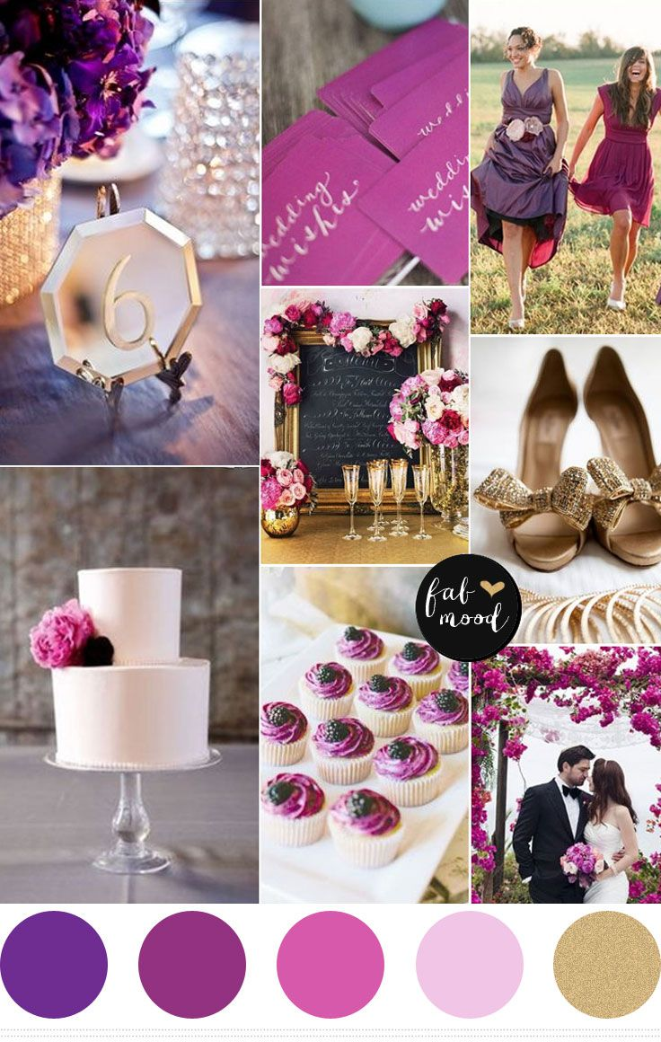 Shades Of Purple And Gold Wedding Color Palette Royal Plum Radiant Orchid Lilac