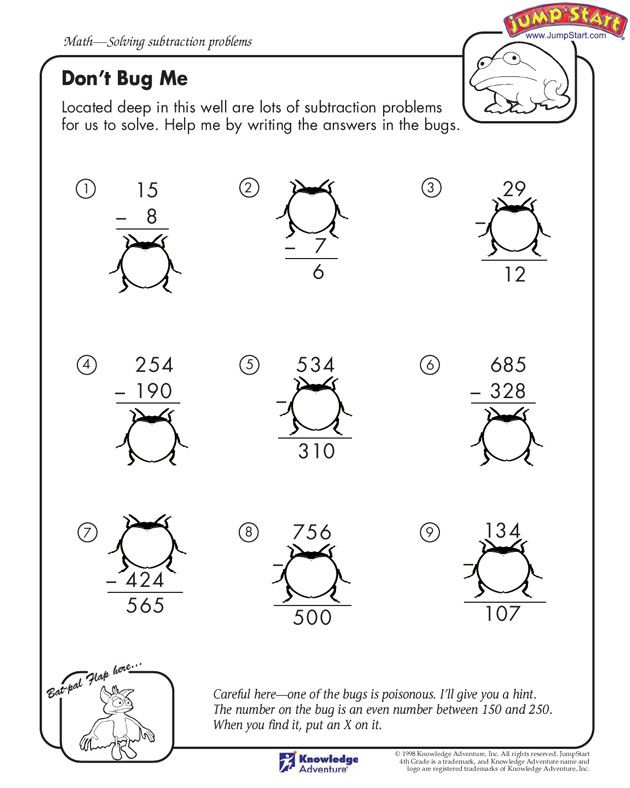 Dont Bug Me 4th Grade Math Worksheet JumpStart – Math Worksheets 4 Grade