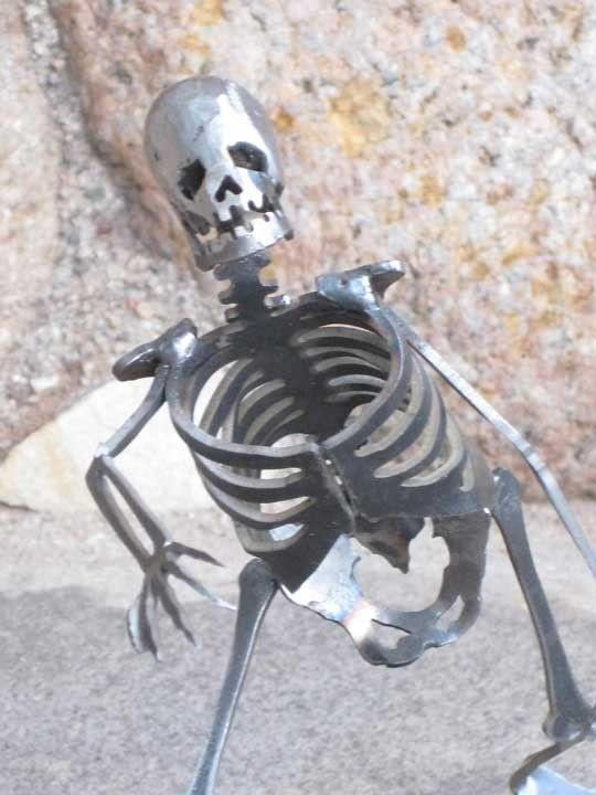 Zombie Skeleton Dragging Leg Metal Sculpture by zedszombieranch on Etsy https://www.etsy.com/listing/62828178/zombie-skeleton-dragging-leg-metal