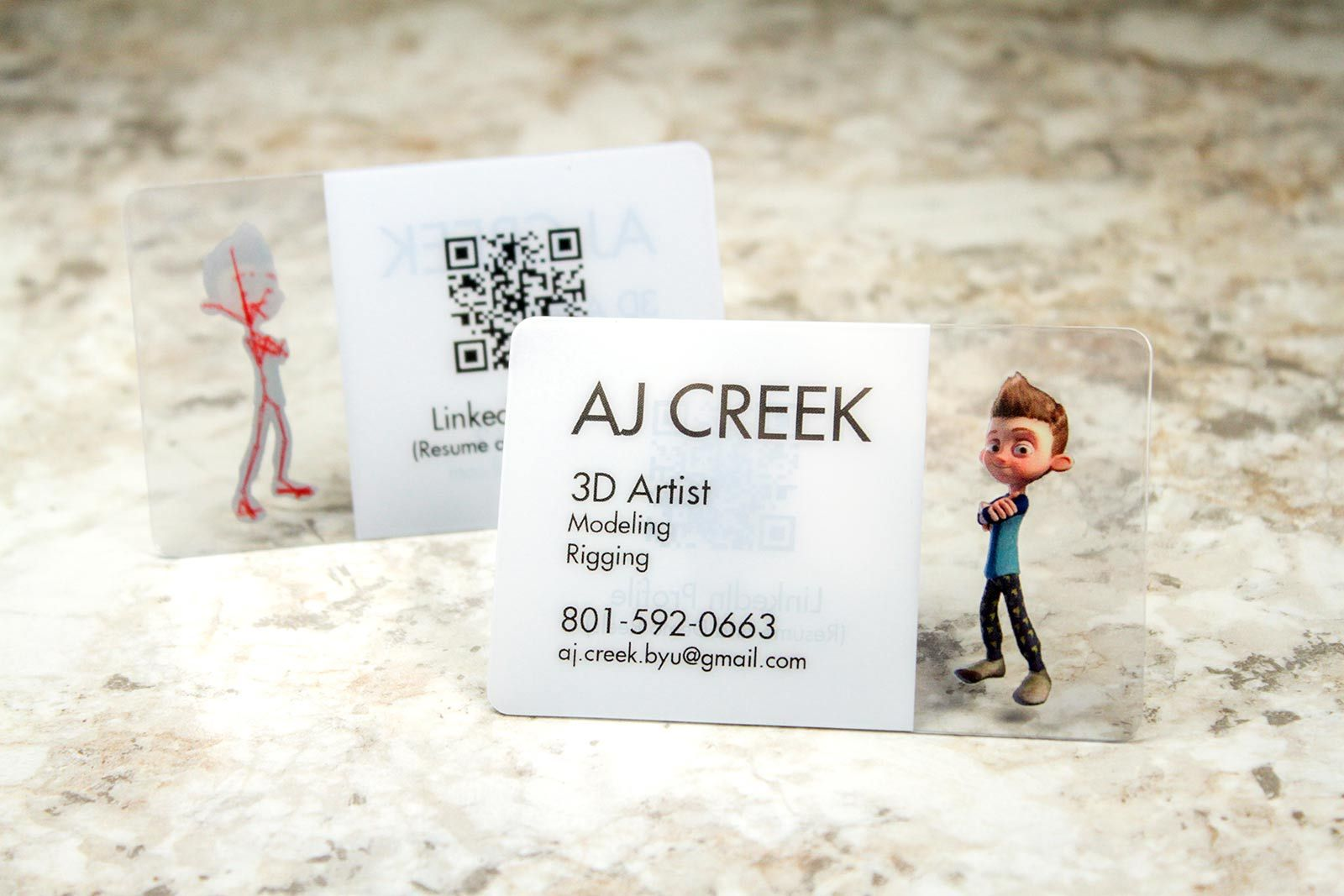 clear plastic business cards for graphic design 3d artist with qr ...