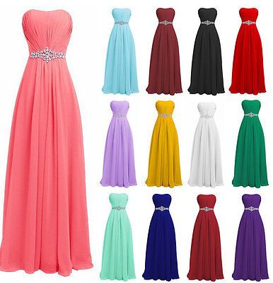Formale lange Chiffon Abend Ballkleid Party Prom Brautjungfer ...