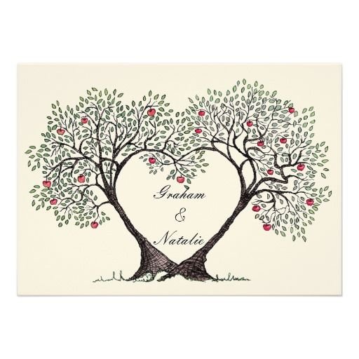 Apple Green Wedding Invitations: Apple Tree Heart Wedding Invitation