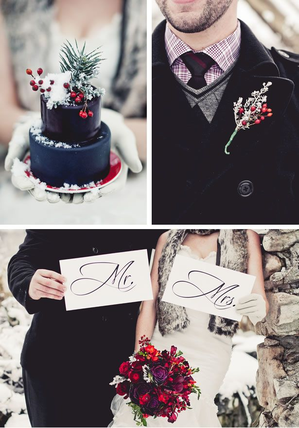 I'm not much for wedding talk but if I ever do decide to get married, I will definitely do a winter/black/green/red theme:)