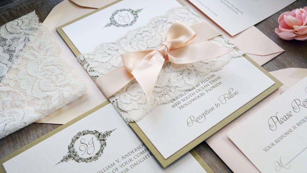 Diy wedding invitations using lace belly bands wedding