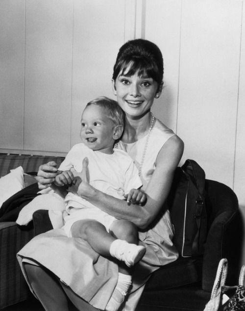 Audrey Hepburn with her baby son, Sean, September 1961.
