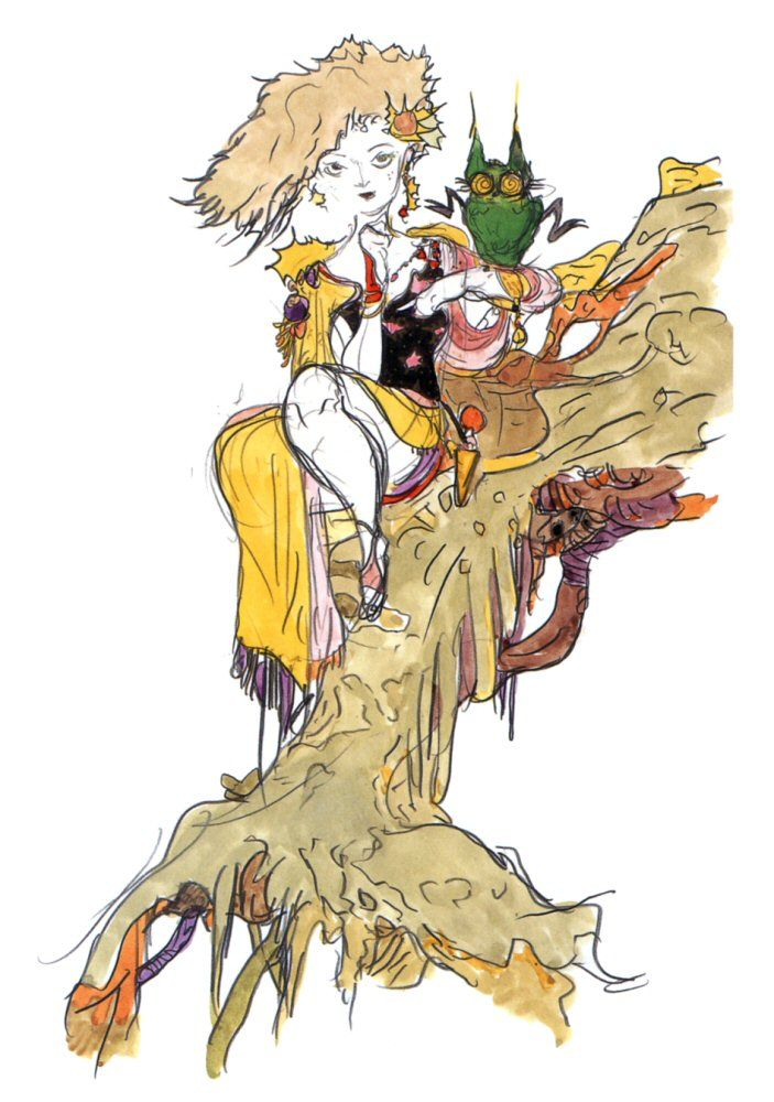 Final Fantasy Iv Rydia Concept Art Yoshitaka Amano Final Fantasy Art Final Fantasy Iv Drawing Illustrations