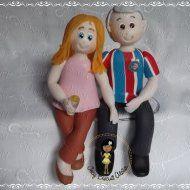 Casal em biscuit bodas de 40 anos (rubi ou esmeralda)