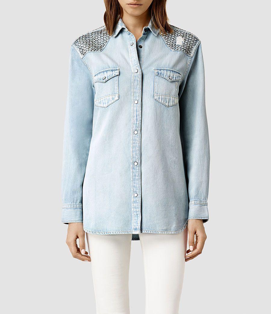 Womens Raine Denim Shirt (Indigo) - product_image_alt_text_1
