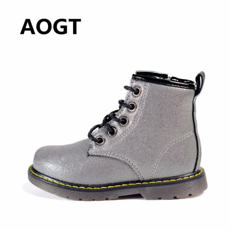 92bd32b5f AOGT Children Boots PU Leather Waterproof Martin Boots Autumn/Winter  Fashion Kids Baby Boots Brand Girls Boys Shoes Rubber Boots Review