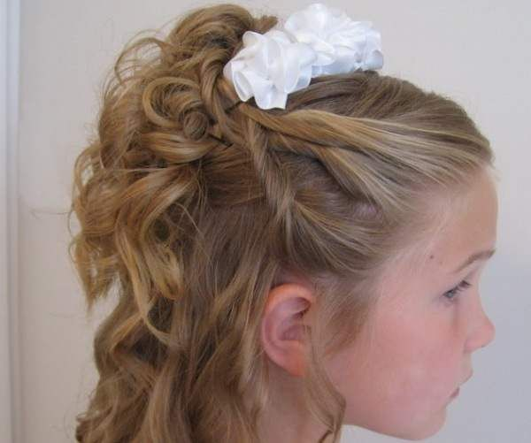 Flower Girl Hairstyles wreath flower girl hairstyle with purple and yellow flowers copyjpg Flower Girl Hairstyles Children Long Curled Down Hairstyle With Flower My Hairstyles Site