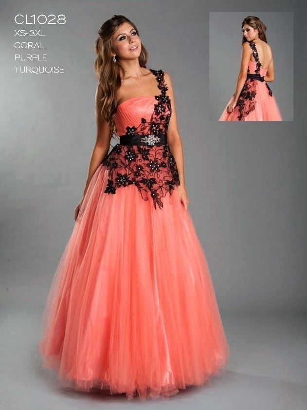 Unique Prom Dresses | 13ASPCL1028 CORAL ONE SHOULDER LONG UNIQUE ...