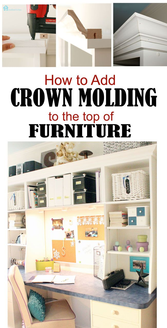 Adding crown molding to the top of bookcases closet pinterest
