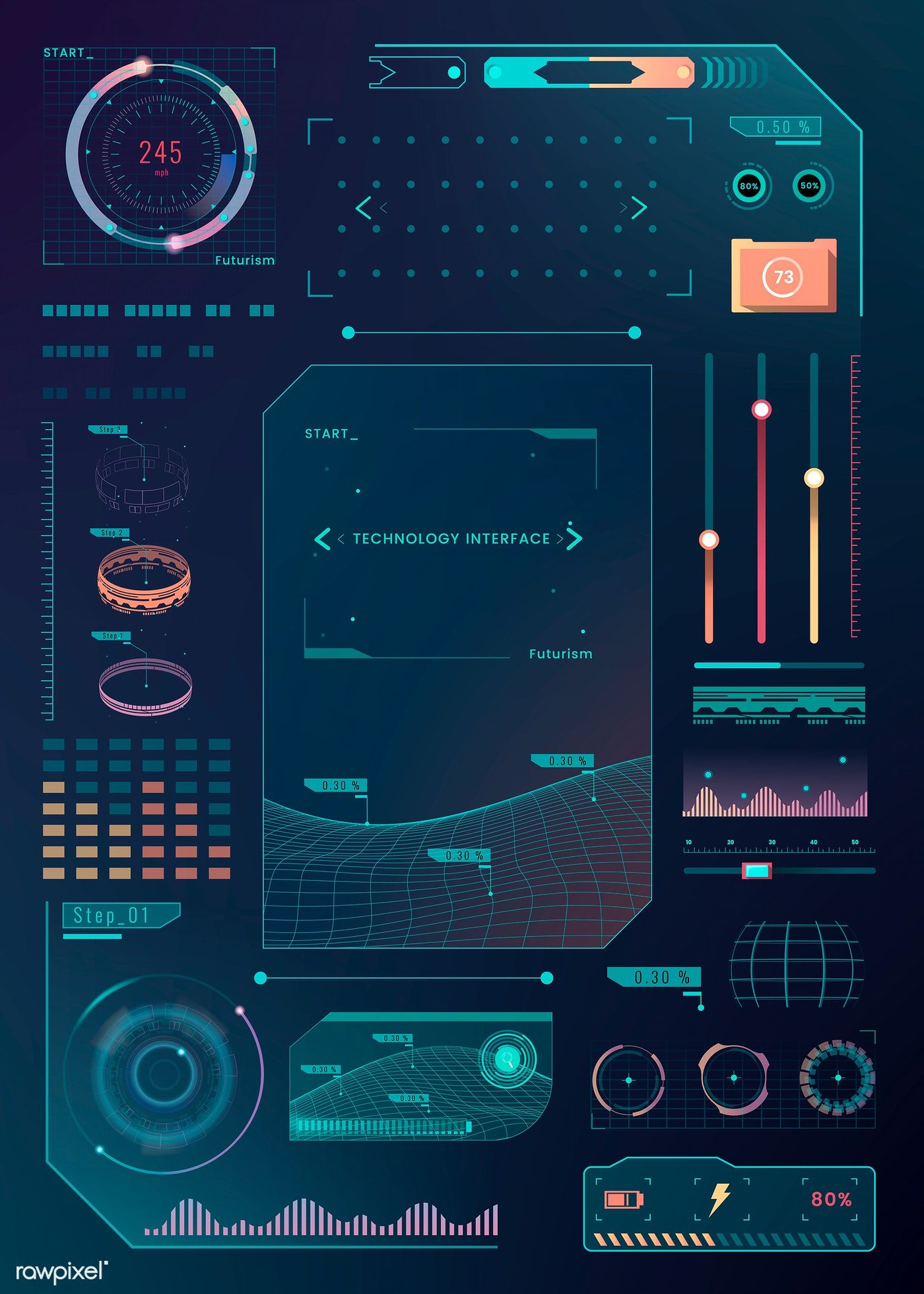 Download premium vector of Velocity technology interface template design