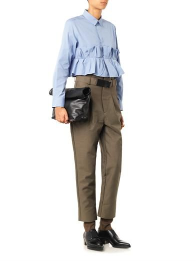 Toga Archives Accordion-ruffle cropped cotton shirt