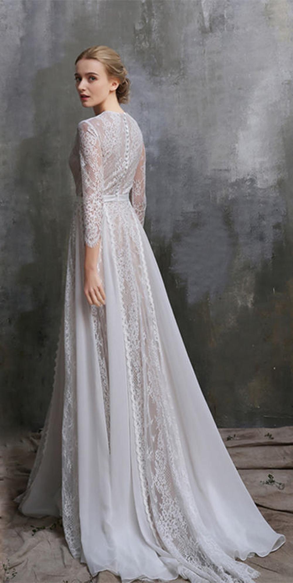 Boho Wedding Dress/ White Lace Dress/ Bohemian wedding