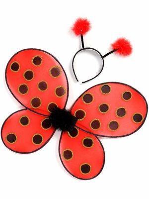 Wig Ladies Carnival Ladybug Ladybug Red Black Polka Dots Antennae