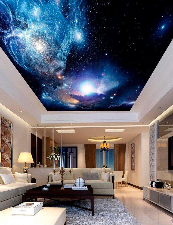 Space Night Sky Planets Ceiling Sticker Ceiling Decor Dark Ide Dekorasi Rumah Desain Warna Dinding