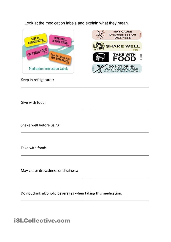 Medicine Labels Labels Reading Food Labels Kids Worksheets Printables