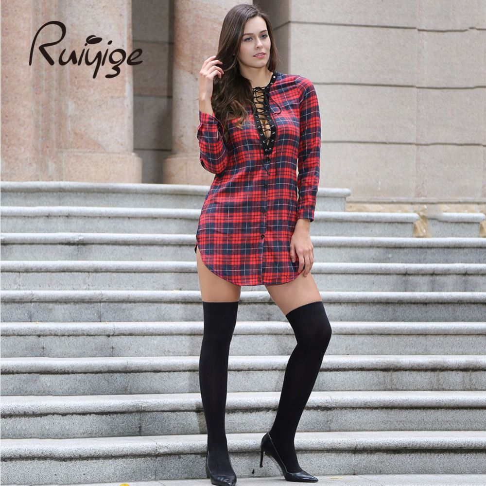 Ladies long sleeve sexy fashion hollow out plaid clubbing spring