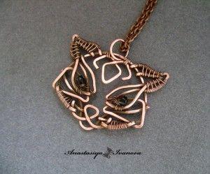 Beautiful wire wrap cat pendant,  copper.