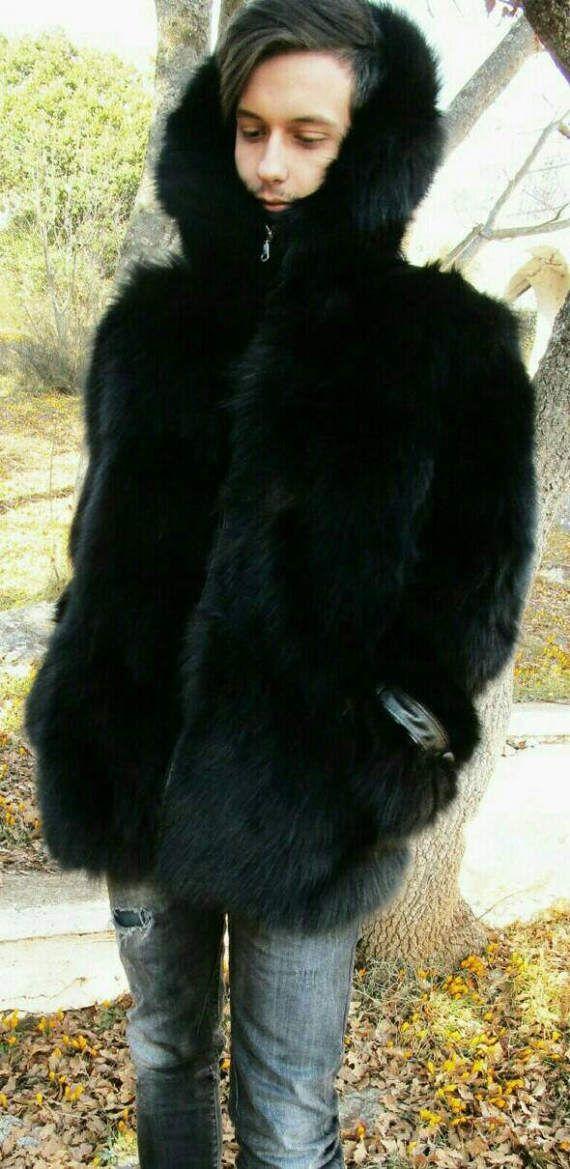 Herren neue schwarze Fuchs! Echter Fuchs Pelz Kapuzen Jacke
