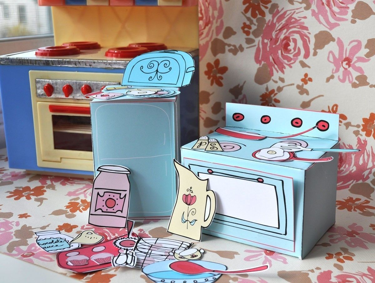 Mini-Play Toy Paper Kitchen PDF Printable Pattern. $4.00, via Etsy ...