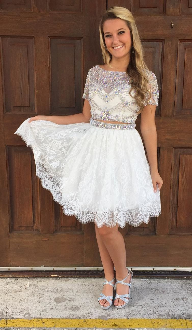 short homecoming dress two piece short homecoming dress white