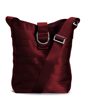 149ae90fa Made to last Maggie Bag Bucket Tote in Dark Red Made 100% from Recycled Seat  Belts