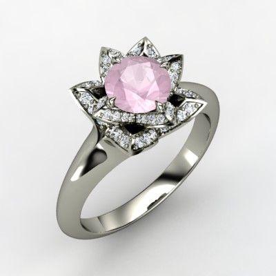 Round Rose Quartz Sterling Silver Ring with Diamond - Lotus Ring | Gemvara