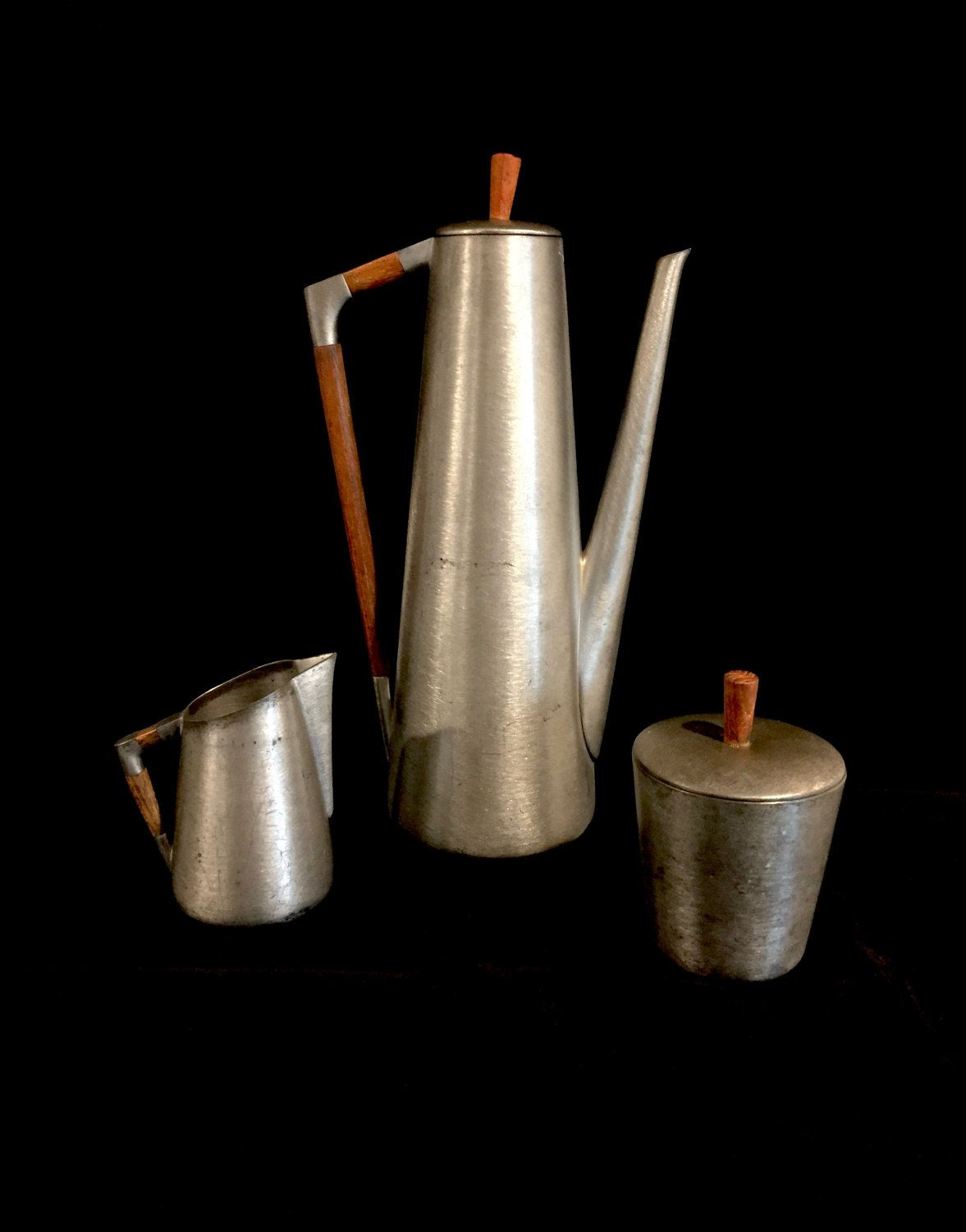 Iconic midcentury coffee serving set royal holland pewter teak pewter coffee pot sugar and creamer by daalderop dutch design by provinceshop on