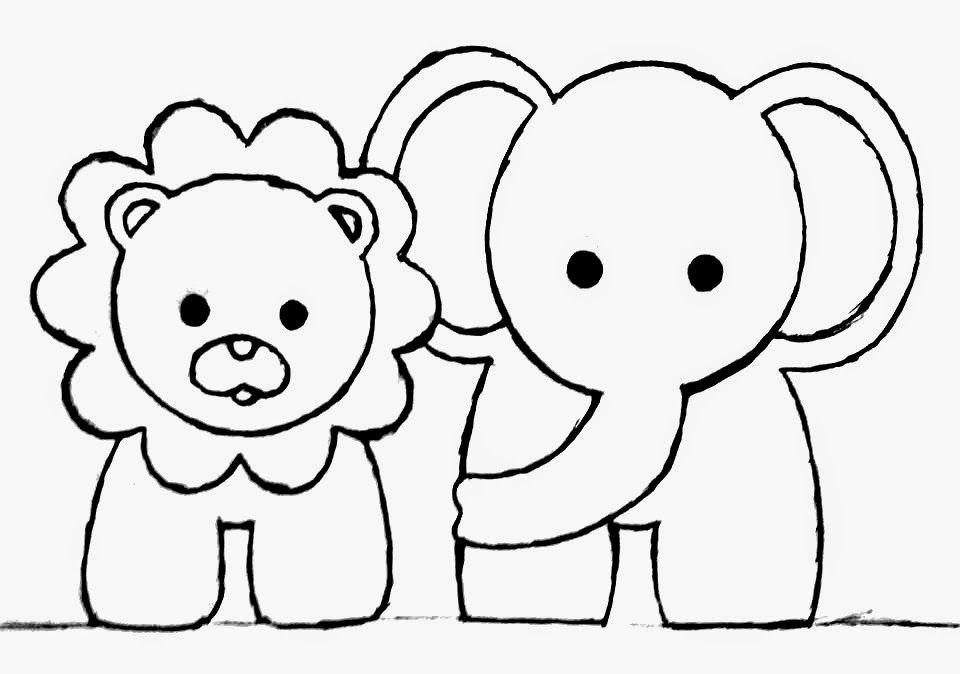 desenho de leão e elefante para pintar em fraldas | scrapbook kids ...