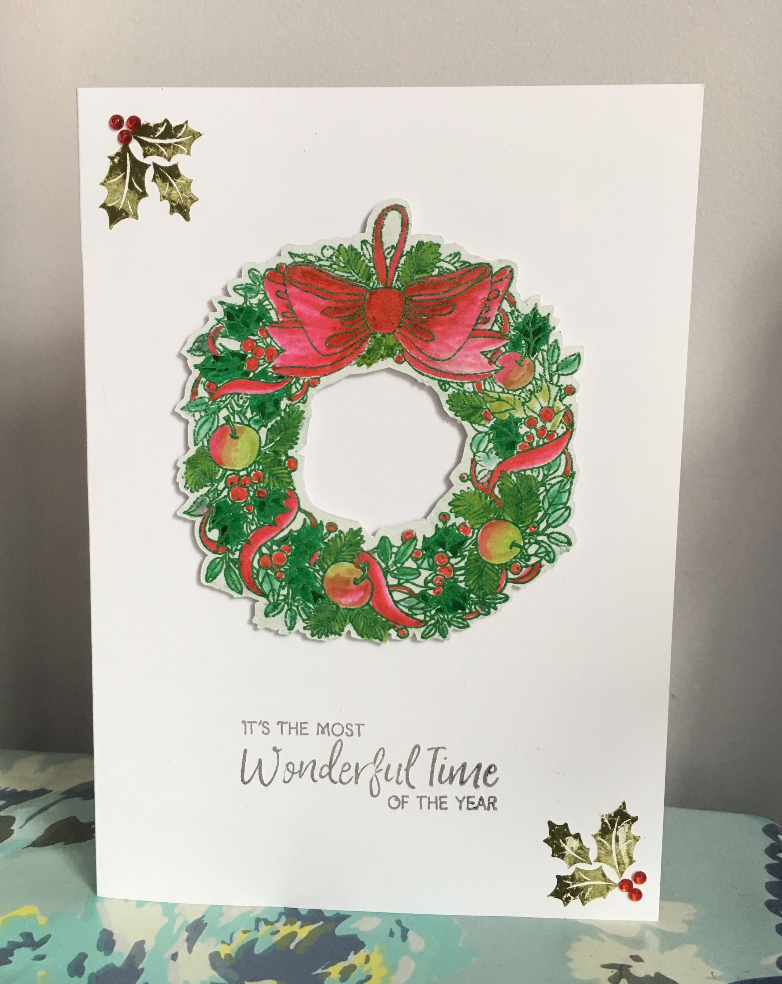 Stamped, embossed and Water-colour handmade Christmas card with ...
