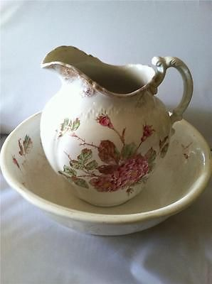 Vtg/Antique Venetian Rose Ironstone Pitcher & Bowl/Basin Shabby Cottage Chic