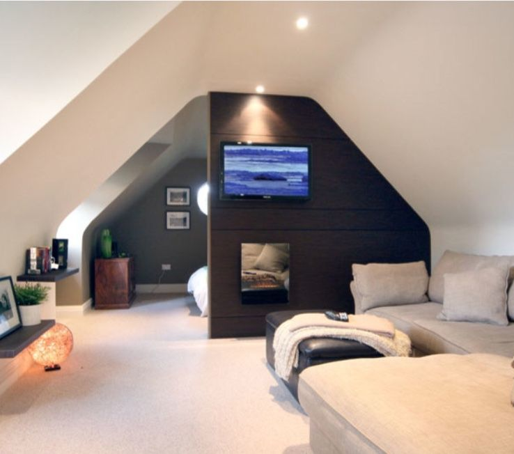 Half Wall Adding Privacy But Still Keeping The Space Open Attic House Attic Bedroom Designs Attic Renovation