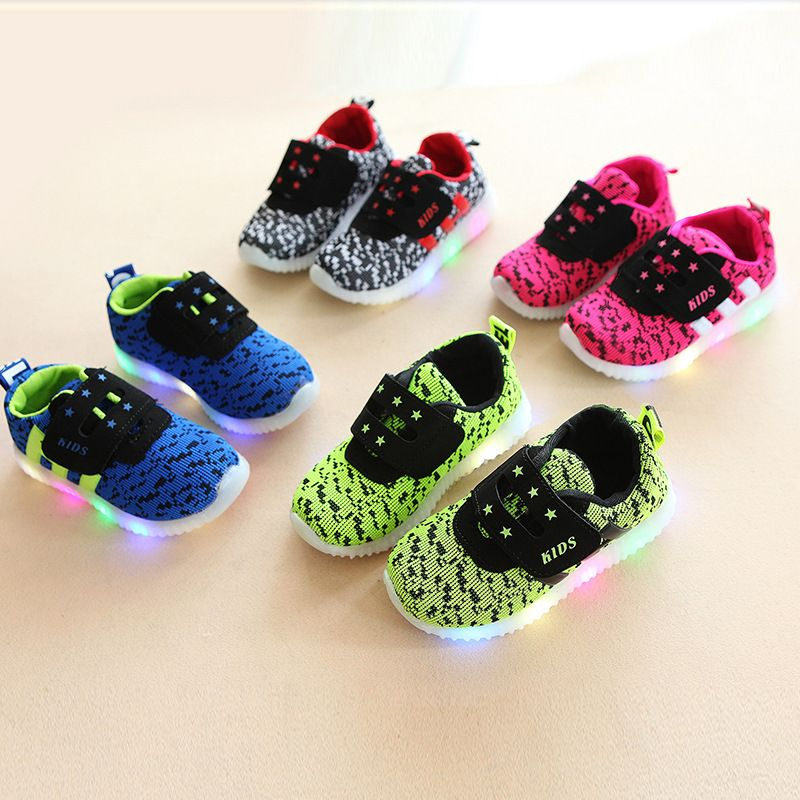 2017 New Child Casual Shoes Male Female Child Luminous Sport
