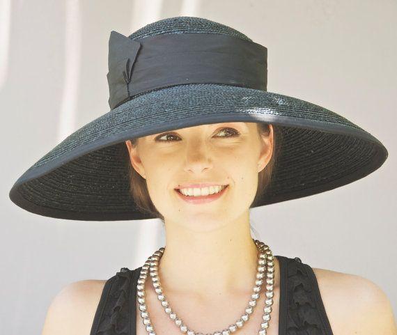 6f8cda59a3185 Black Wide Brim Hat. Audrey Hat. Kentucky Derby Hat. Wedding Hat ...