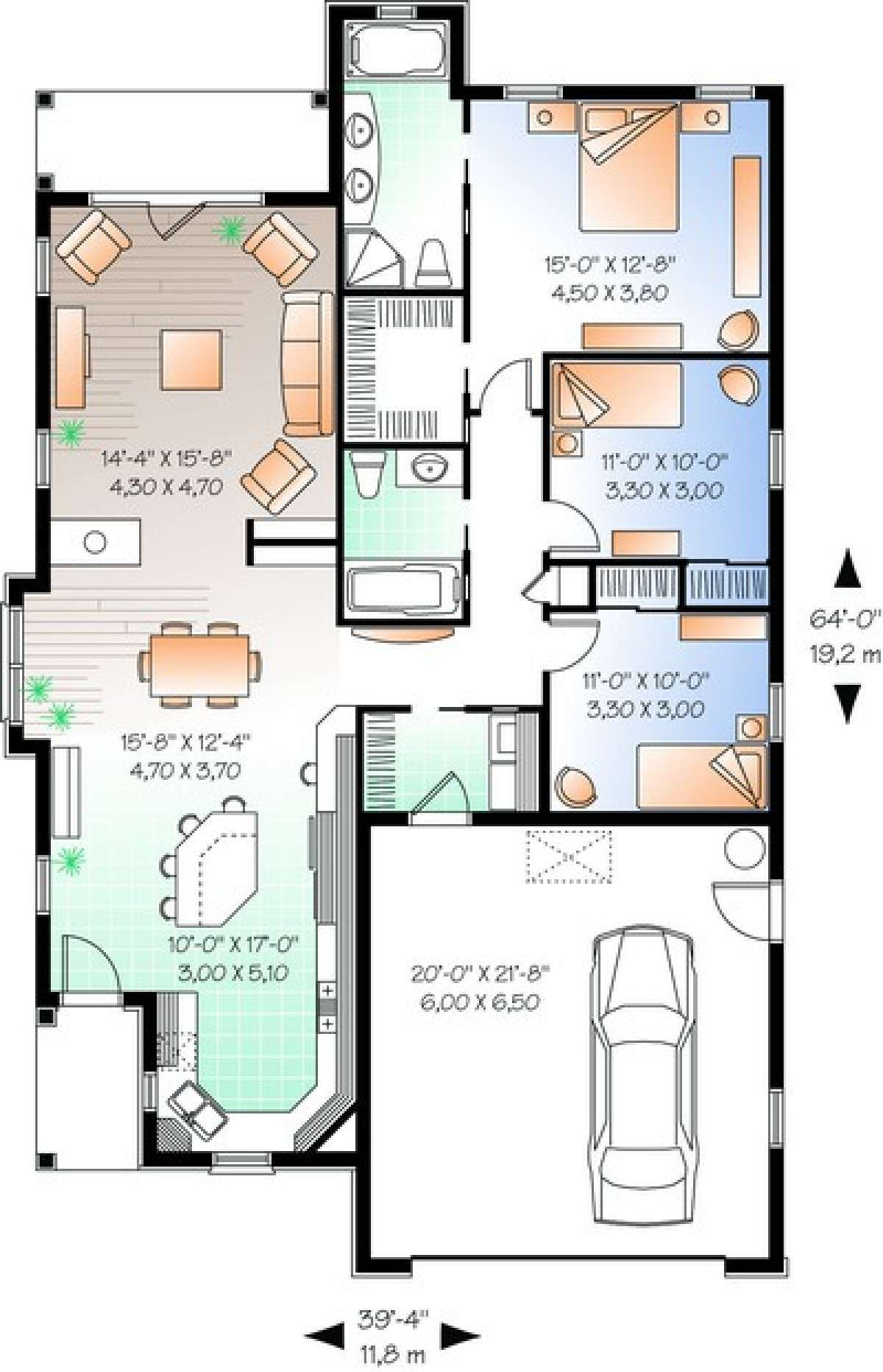 House Plan 034 00199 Traditional Plan 1 634 Square Feet 3 Bedrooms 2 Bathrooms In 2021 Single Storey House Plans Narrow House Plans Bungalow House Plans