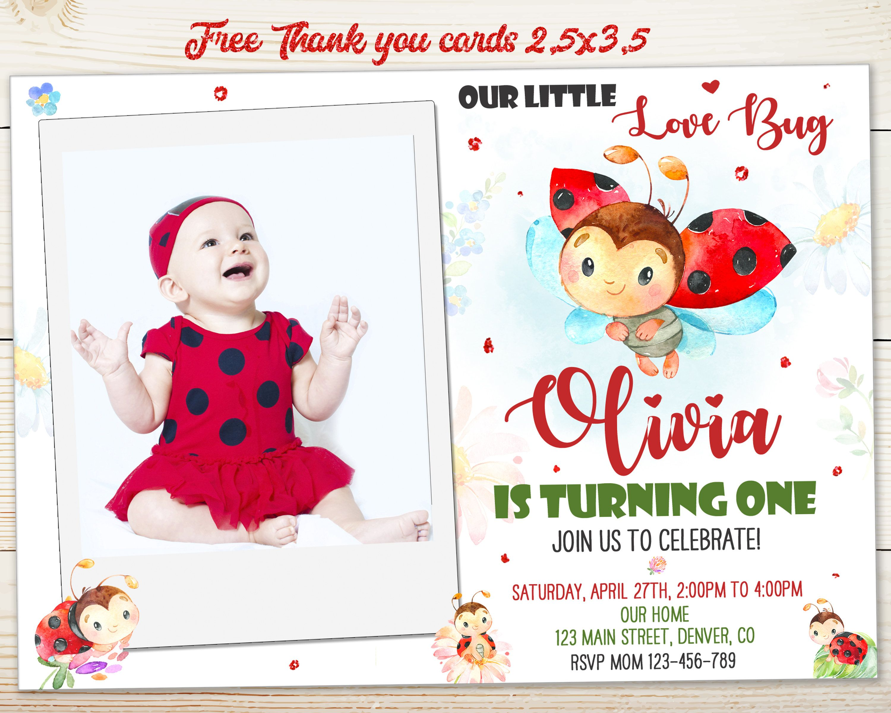 Little Ladybug Personalized 4th Birthday Banner