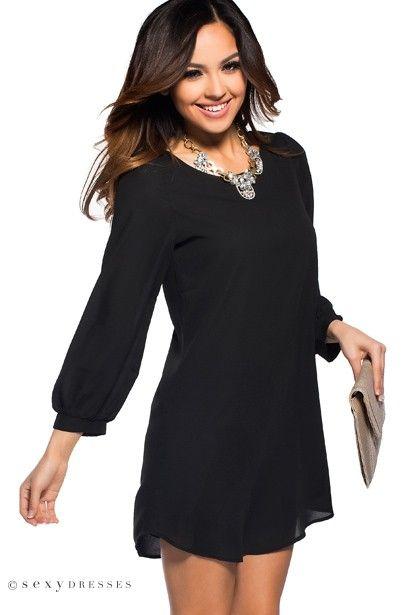 Shift dress black long sleeve