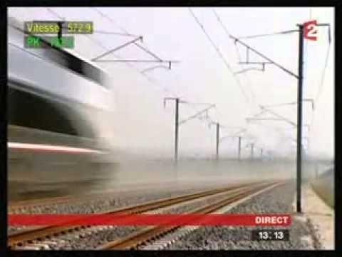 TGV record de vitesse 574,8 km/h  le 3 avril 2007 entre Strasbourg et Paris