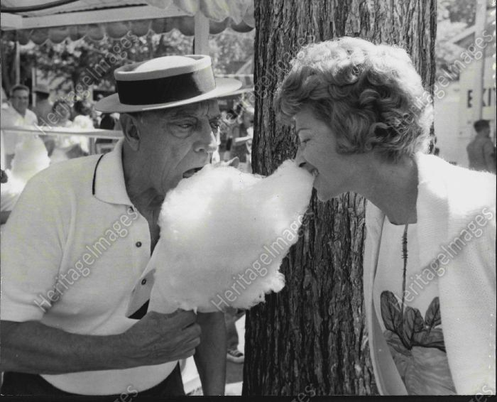 1963 Comedian Buster Keaton & Wife Eating Cotton Candy Original Press Photo